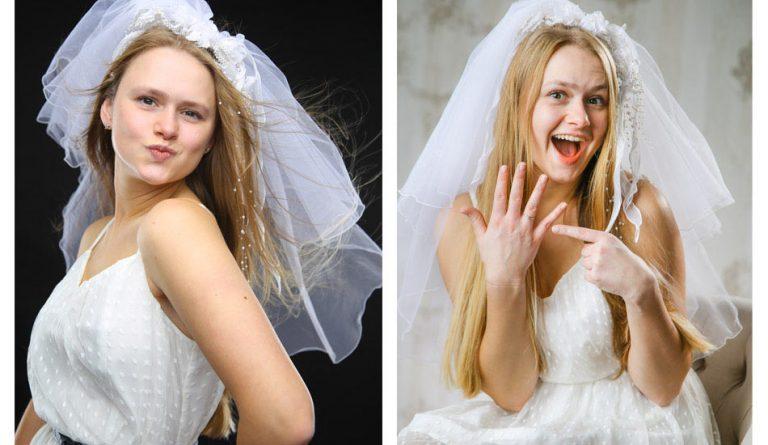 Portrait einer hübschen, jungen Braut beim JGA Junggesellinnenabschieds Fotoshooting